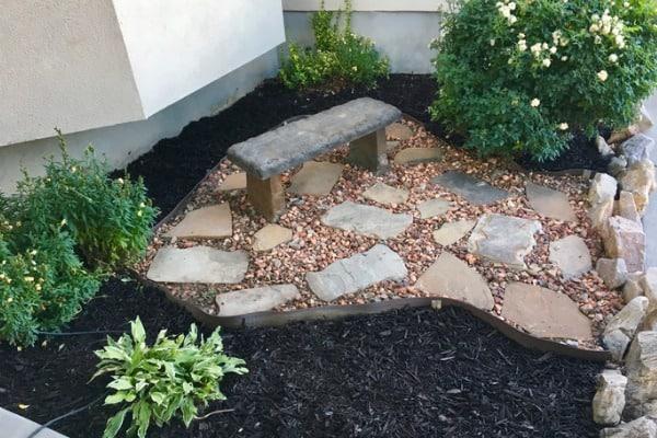 rocks and mulch