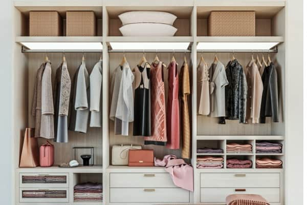 wardrobe with shoes and bags