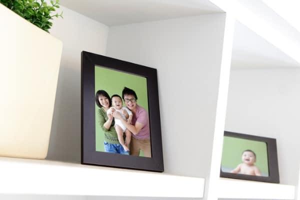 frames on a shelf