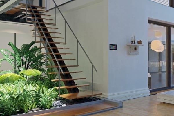 garden underneath the stairs