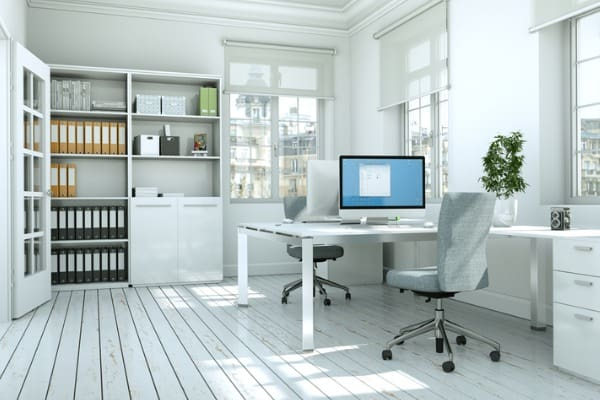 modern white home office