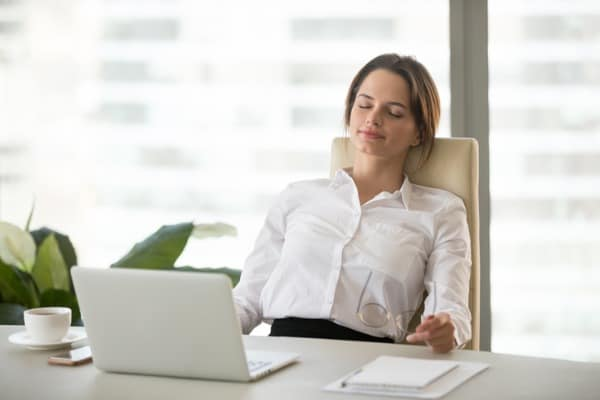 woman relaxing on comfortable ergonomic