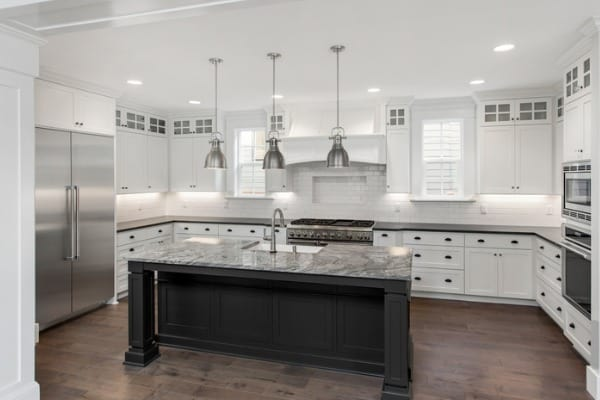kitchen with black hues