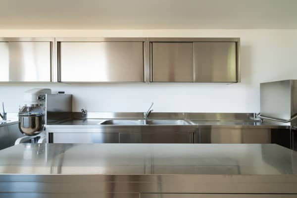 kitchen with metallic theme