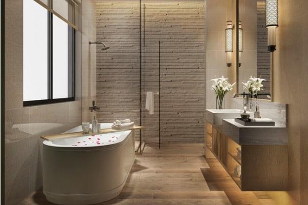3d rendering modern cozy lighting bathroom