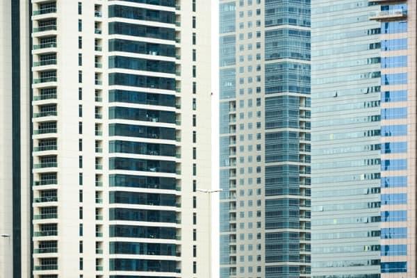 closeup view of modern skyscraper towers dubai marina