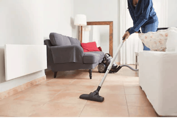 electric mop on living room