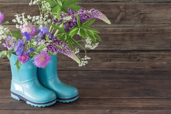 flower in boots