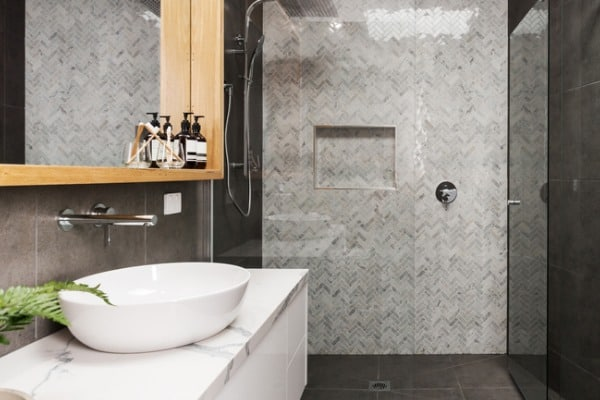 marble mosaic tiled shower