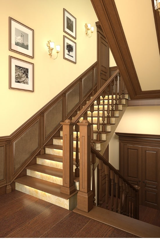 photo frames by the staircase