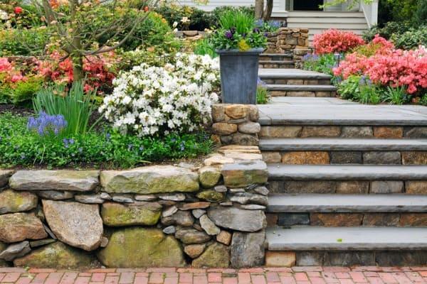 stone wall and garden walkway