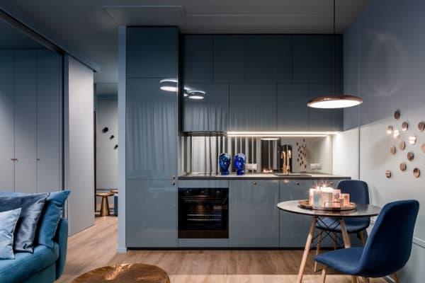 dark interior with open-kitchen