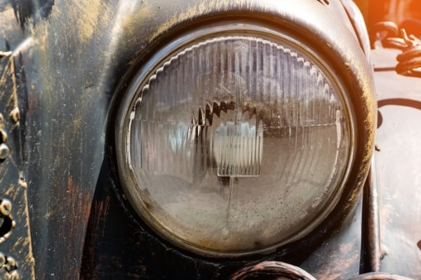 headlight of a vintage car