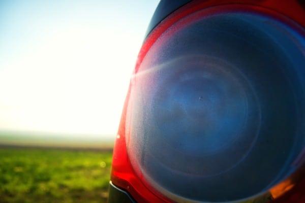 headlight with water vapor