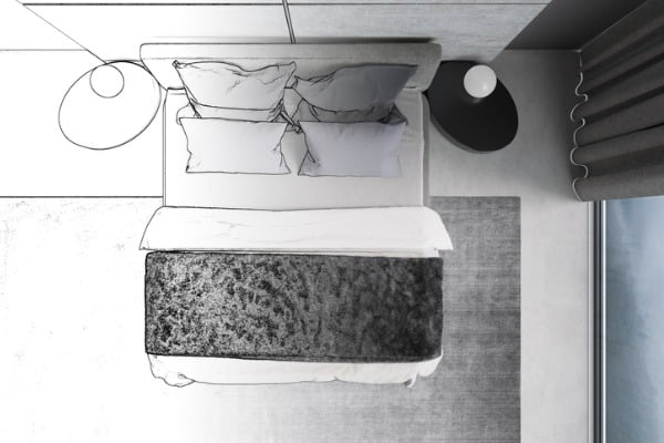misty gray bedroom