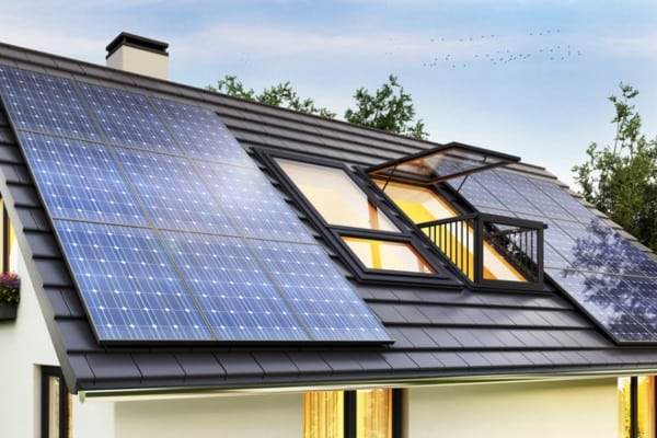 solar panel on roof of modern house