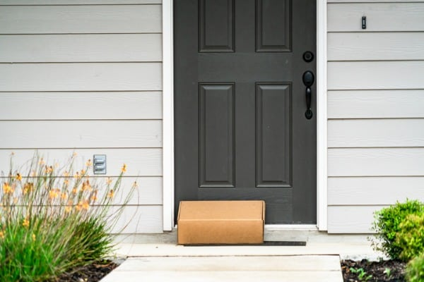 package on beautiful front porch