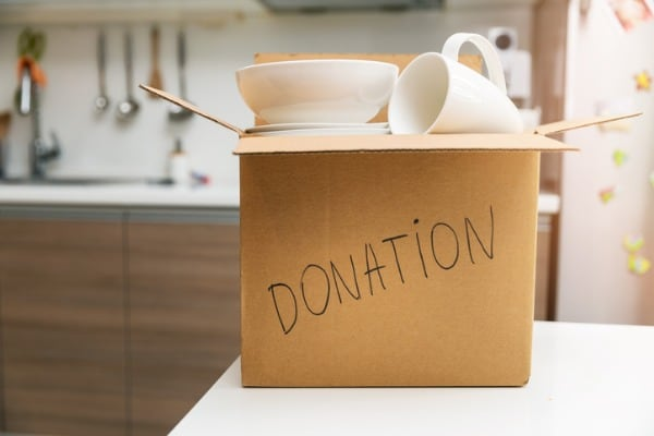 box with donation written