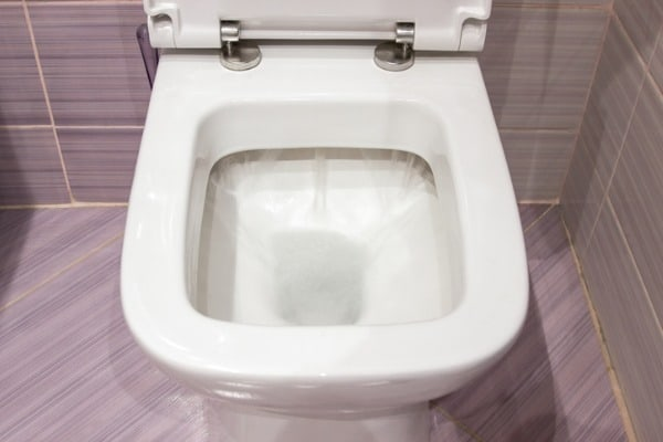 flushing clogged toilet
