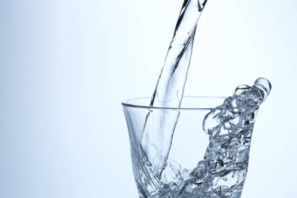 glass of ater on white background