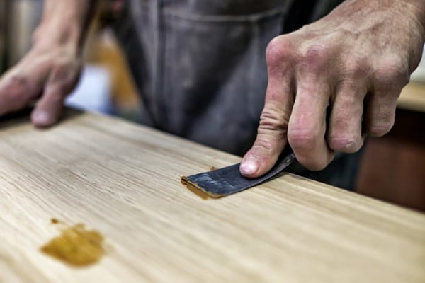 Pressing in wood filler