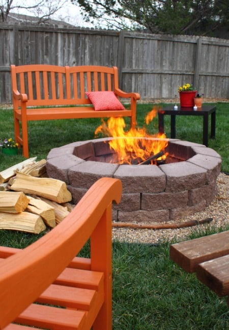 makeover yard with fire pit