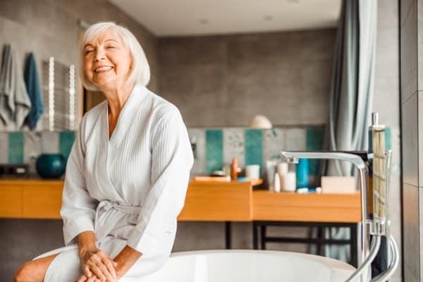 Elderly person in bathroom