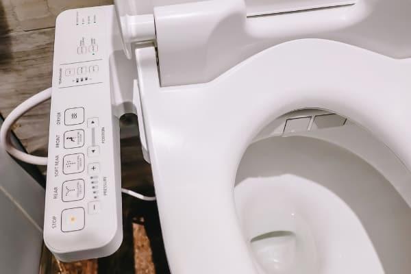 close-up of bidet controls