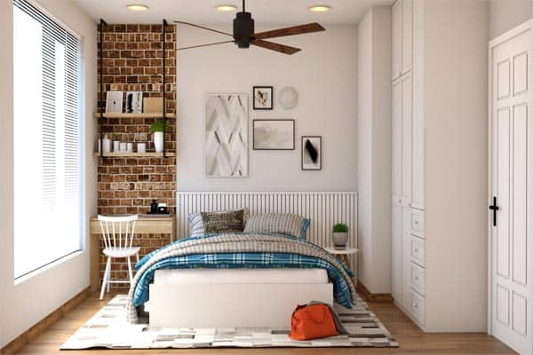 bedroom-with-mattress-stack