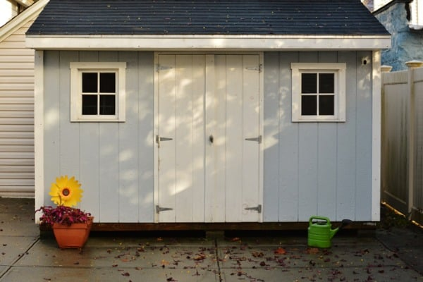 blue and white shed