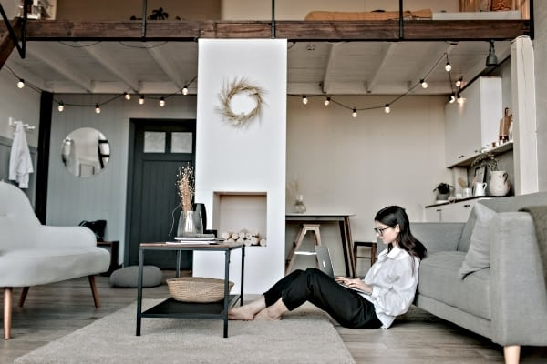 girl in a modern room