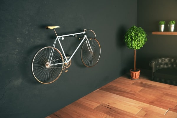 bike hanging on the wall