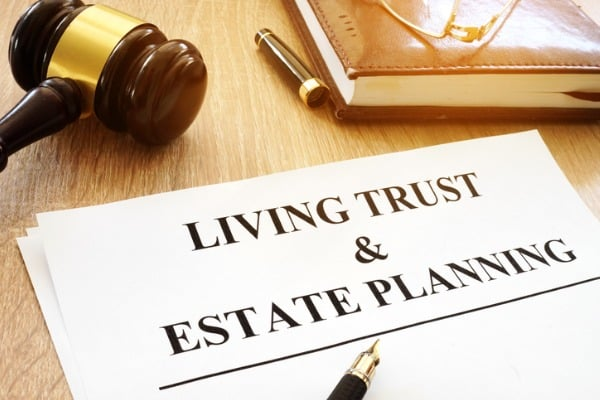 living trust and estate planning on a desk