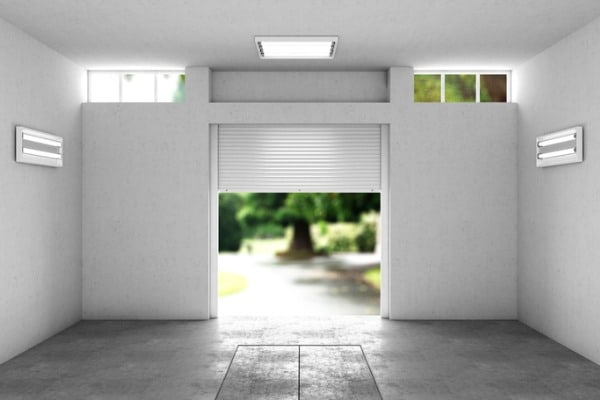 open garage with a view to the street