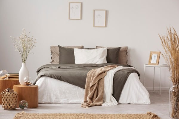 spacious bedroom in beige