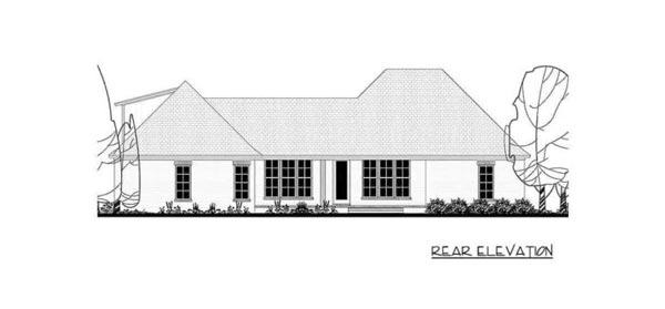 Rear elevation sketch of the two-story 5-bedroom Southern French country home.