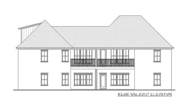 Rear walkout elevation sketch of the two-story 5-bedroom Southern French country home
