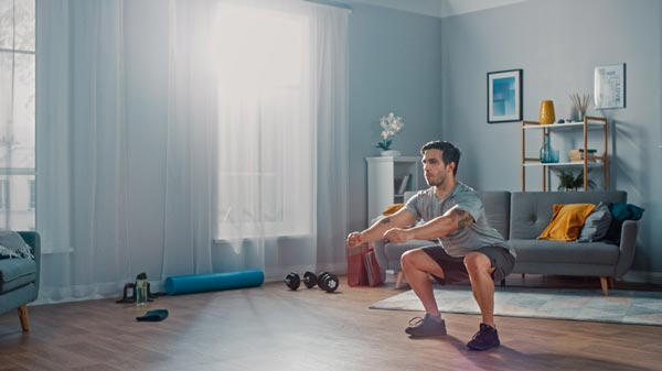 Create a small workout space at home