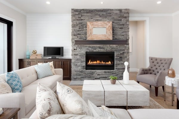beautiful living room interior with hardwood floors and fireplace