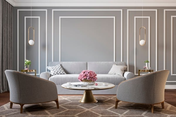 classic gray interior with armchairs sofa coffee table
