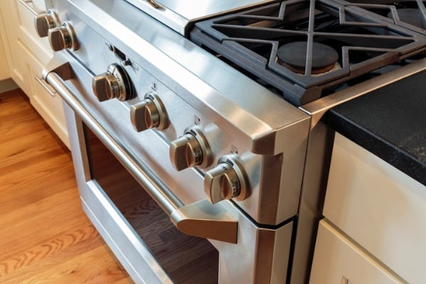 close up stainless steel stove