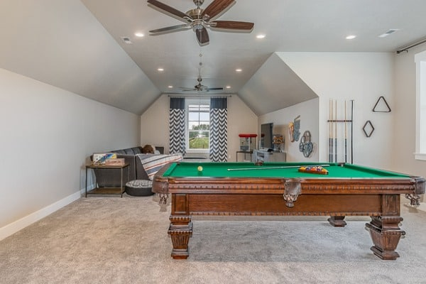 game room in the upstairs attic