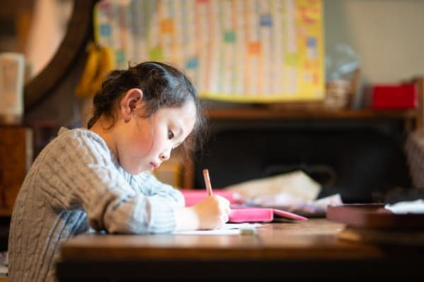 girl to study at home