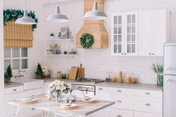 interior of a bright modern kitchen in vintage style decorated with