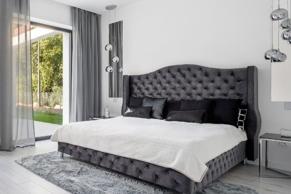king size bed in glamorous bedroom