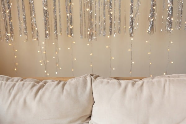 lights garland over couch