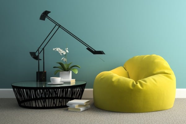 part-of-interior-with-yellow-beanbag