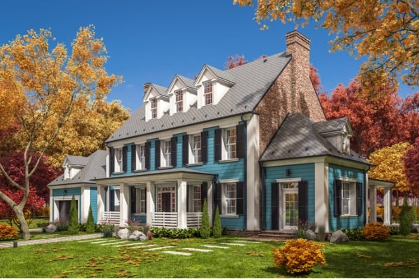 3d rendering of modern classic house in colonial style in autumn day picture id1257396385