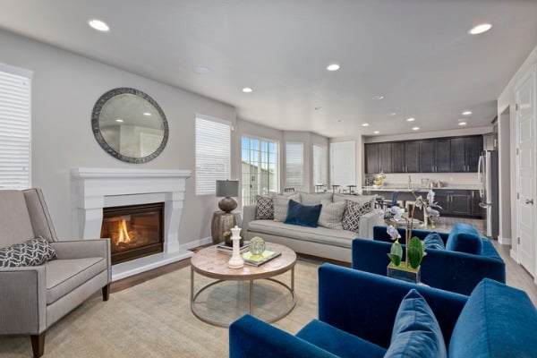 family room and kitchen of open floorplan home