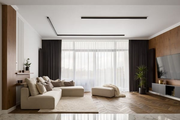 living room with wooden decoration